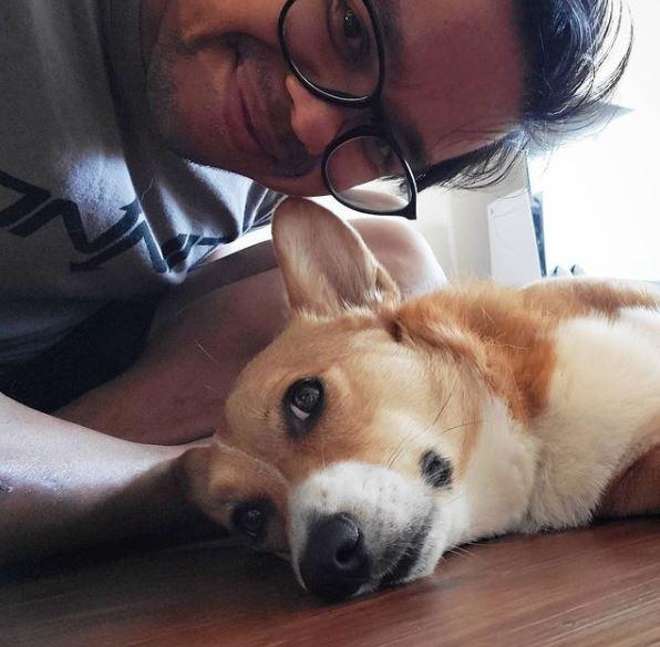 Sarath Ton with his pet dog