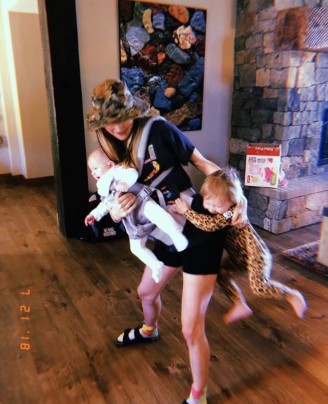 Behati Prinsloo with her two daughter