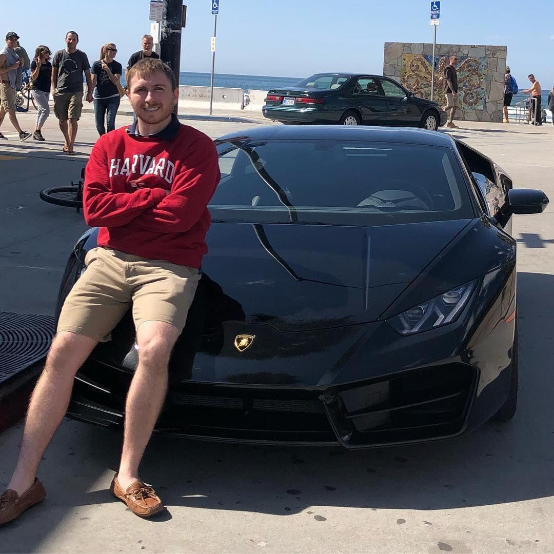 Cassady Campbell with black Lamborghini