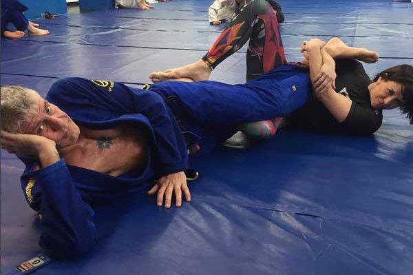 Ottavia Busia with her former husband, Anthony Bourdain practicing Jiu-Jitsu