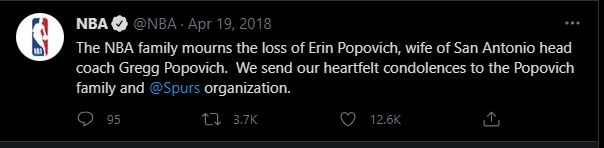 NBA mourning after Erin Popovich's Death