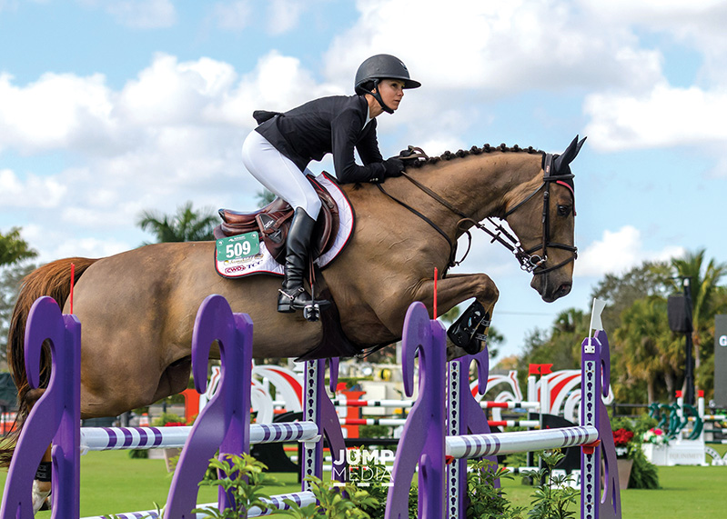 Georgina Bloomberg with her horse, Manhattan in Nations Cup Champion