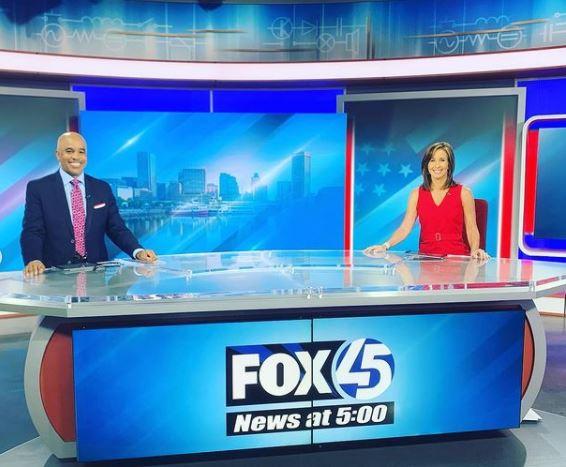 Mary Bubala with her co-anchor, Kai for WBFF FOX 45