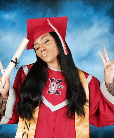 Supa Peach celebrating her graduation