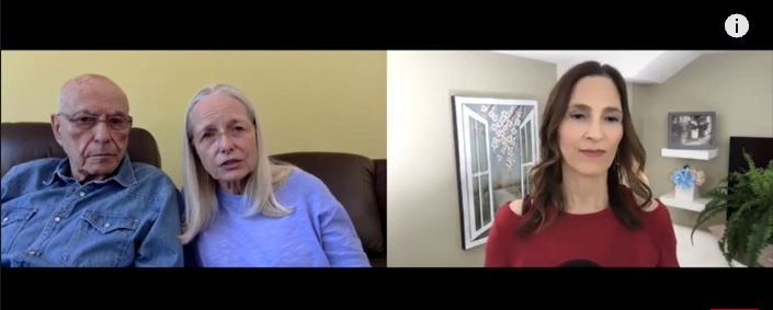 Suzanne Newlander Arkin and her husband during an interview